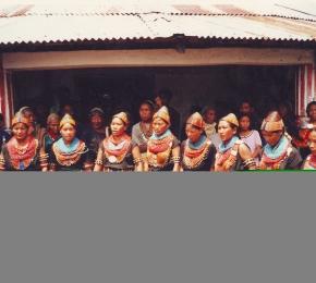 Konyak Girls dancing at the Aoling Spring Festival, Chui Village, Nagaland, 2001