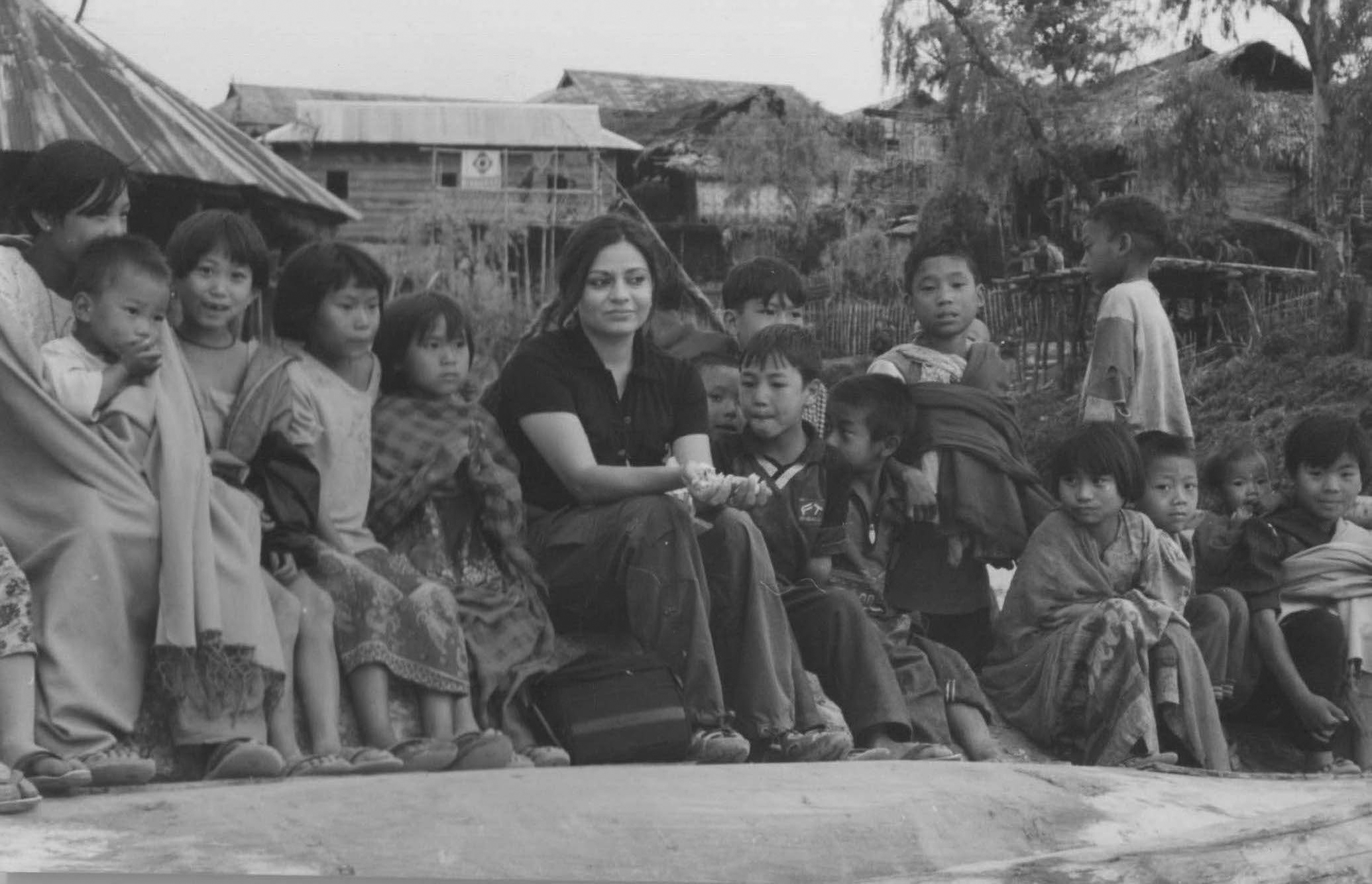 Anu Malhotra with Konyak Children, Wanching Village, Nagaland, 2001
