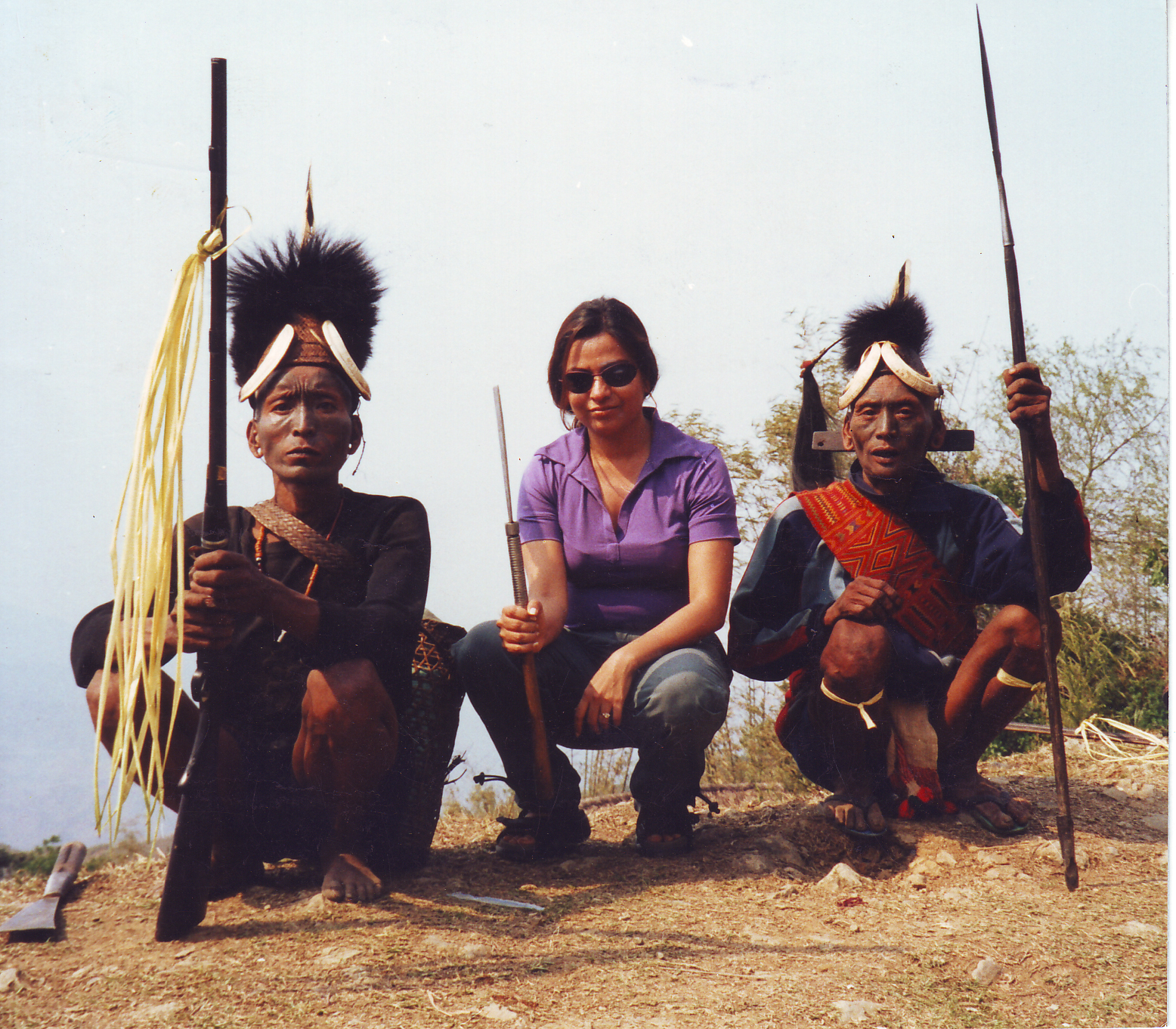 Anu Malhotra with Konyak Headhunters of yore, Longwa Village, Nagaland, 2001