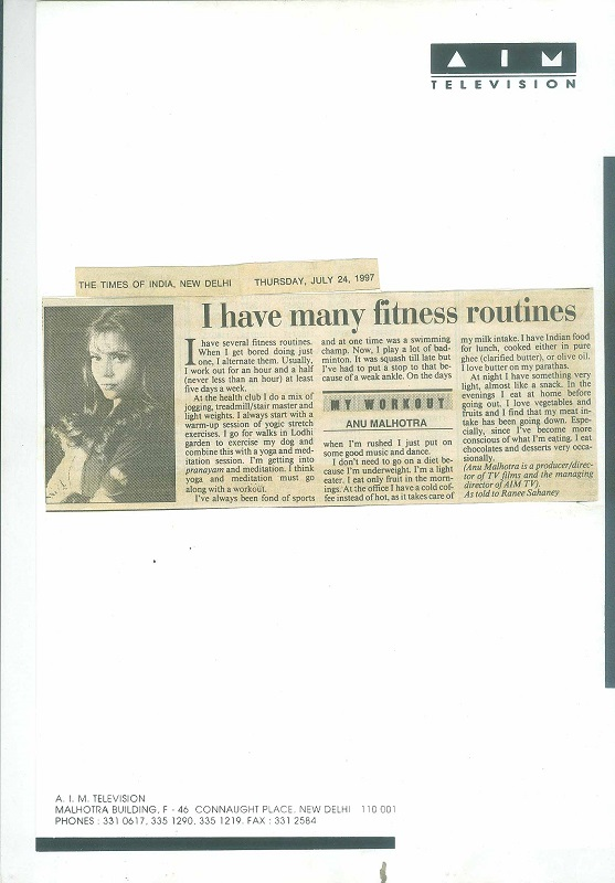 The Times of India Thursday July 24, 1997
